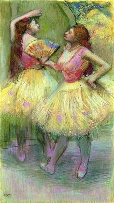 Edgar Degas - Avant l'entrée en scène 1888.  An irridescent Degas pastel and charcoal on paper of two dancers waiting to go on stage. The shimmering pink pastel strokes both illuminate the dancers' legs and indicate movement, a taste of what is to come