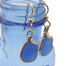 Bright Blue Sea Glass Earrings Goldfilled Wire Bezel©