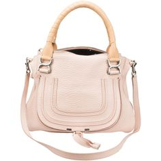 Pre-Owned Chloe Blush Leather Marcie Bag ($1,000) ❤ liked on Polyvore featuring bags, handbags, shoulder bags, blush, leather purse, shoulder strap bag, pre owned handbags, genuine leather shoulder bag and pink purse