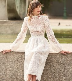a lace and lace applique midi wedding dress with sleeves and an accented waist Ball Dresses, Dresses With Sleeves, Summer Dresses, Tea Dresses, Off White Dresses, Bridal Wedding Dresses, Bridal Outfits, Lace Dress, Dress Up