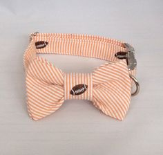 Tailgating at the Vols game or just looking for a preppy look for the summer, our classic orange seersucker football dog bow tie collar is the