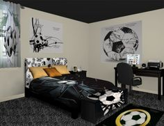 This room is for the love of soccer. What an exciting sport to watch or even play which can be easy to do with the inspiration of this soccer decor. See more at www.visionbedding.com/Soccer-Splash_Bedroom-rm-13761#sthash.hw9ESY1r.dpuf