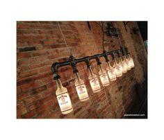 luminária com garrafas