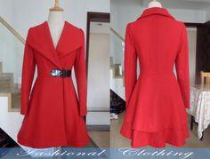 red blue black coat wool coat winter coat by FashionalClothing