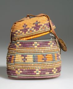 Africa | Basket from Egypt or Sudan | Plant fiber, hide and pigment | ca. 1919