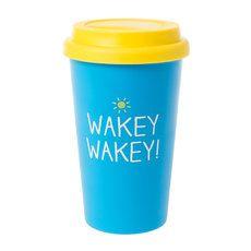 Wakey Wakey! Blue and Yellow Travel Coffee Mug