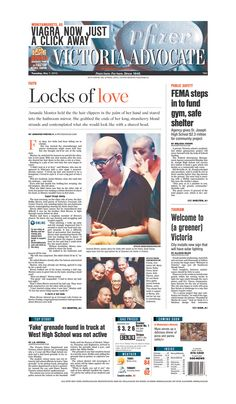 Here is the front page of the Victoria Advocate for Tuesday, May 7, 2013. To subscribe to the award-winning Victoria Advocate, please call 361-574-1200 locally or toll-free at 1-800-365-5779. Or you can pick up a copy at one of the numerous locations around the Crossroads region.