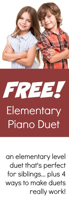 """Duets are a great way to re-motivate your students - so here's a free one called """"Bluesy Kids"""" that's sure to be a favorite in your piano lessons #PianoLessonFreebies #DoSomeDuets #FourHandsAreBetterThan2"""