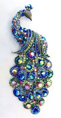 Large Silver Plated Multicolor Crystal Peacock Brooch
