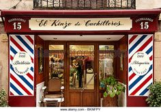 Barber shop, Madrid, Spain - Stock Image