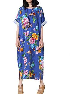 """Mordenmiss Women's Printing Dress Travel Line Clothing Large Style 3-Round Collar Blue  Very casual and comfortable dress for your travel time.Buy our genuine leather shoes to match,very unique outfit.  The difference of style 1 size M and L is the bust size, M bust:47.2"""", L bust:56.7"""".  Style 1-M fit US 4-14, Style 1-L fit US 10-18  Style 2, Style 3, Style 4, Style 5 fit US 4-14.  Size information: PLS read the size details on Product Description, not the Amazon Size Chart beside the ..."""