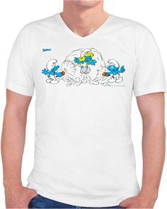 Şirinler - İp Atlamaca - Kendin Tasarla - Erkek V Yaka Tişört