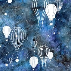 Sky's the Limit: Hot Air Balloons on Night Sky fabric by jennifercolucci on Spoonflower - custom fabric