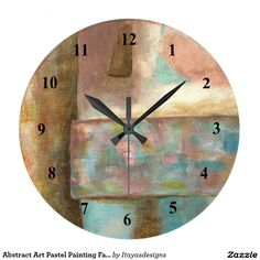 Abstract Art Pastel Painting Fantasy Castle Tower Large Clock