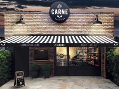 La Carne Boutique on Behance Cafe Shop Design, Cafe Interior Design, Bakery Design, Shop Front Design, House Design, Deco Restaurant, Rustic Restaurant, Outdoor Restaurant, Restaurant Exterior Design