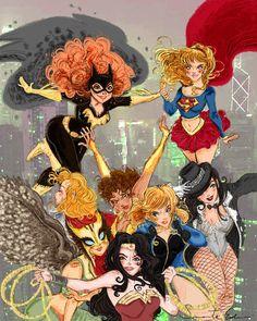 comicsforever:    The Girls Of DC Comics // artwork by Samanta Erdini (2012)