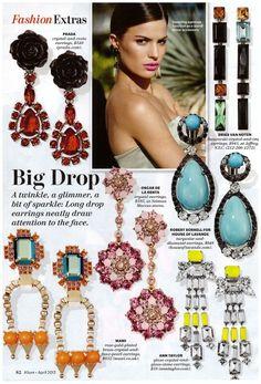 Oversized colorful chandelier earrings.  Allure magazine