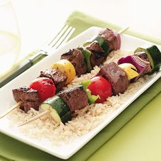 Marinated Veggie Beef Kabobs Recipe -These colorful kabobs are a wonderful way to showcase fresh veggies from your garden. Each bite is tender and flavorful, and the aroma is amazing. —Lori Daniels, Beverly, West Virginia