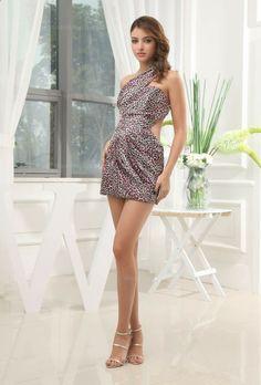 Amazing Sexy Single Shoulder Leopard Pattern Dress