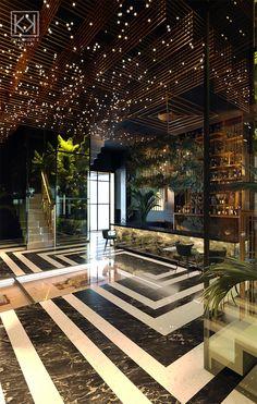 Art Deco Restaurant, reception and bar on Behance Modern Hotel Lobby, Hotel Lobby Design, Luxury Restaurant, Restaurant Interior Design, Bar Interior, Restaurant Ideas, Art Deco Hotel, Lounge Design, Design Design