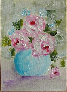 Vase of Roses ACEO