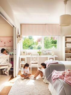 00412800. Habitación infantil en blanco y rosa, con estudio niñas 00412800