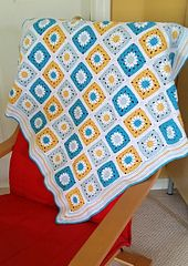 This granny square blanket is made for my nephew who was born in May 2016! I love the colors of blue and yellow which is so bright and pretty for boys! I hope you would enjoy this pattern as much as I do!