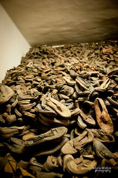 Block 5. Shoes which belonged to Jews deported to Auschwitz. Majority of their owners were killed in gas chambers right upon arrival.