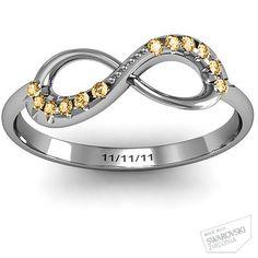 Infinity Accent Ring #jewlr.... My wedding date, mine  my husbands birthday stone
