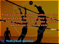 Yeah you need a good setter so she can set to the hitter so they can kill it, but it all starts with the perfect pass from the back row. Volleyball Quotes 3
