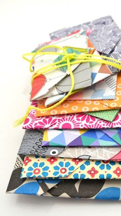 Origami envelopes- imagine all the colors and patterns!!