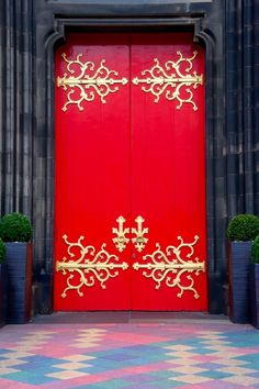 Red and Gold door in Edinburgh, Scotland.