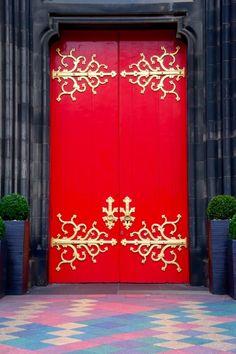Red and Gold door in Edinburgh, Scotland.