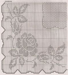 Crochet filet pattern square table cloth with roses - free cross stitch patterns crochet knitting amigurumi Filet Crochet Charts, Crochet Cross, Crochet Diagram, Crochet Motif, Crochet Doilies, Crochet Patterns, Crochet Home, Crochet Baby, Images Aléatoires