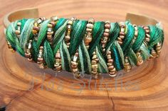Green and Gold Bead Bracelet