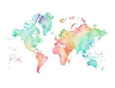 5x7 8.5x11or 11x14 Pastel World Map Print by poppyandpinecone
