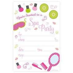Planning a pampering spa party - These cute and colorful invitations are a great way to get your guests ready for a day of beauty birthday celebration. Invites measure 4 x 6 and come with white envelo