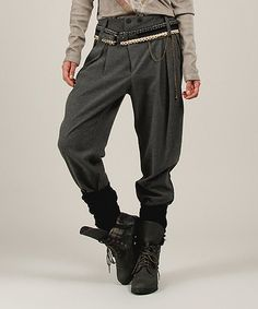 Another great find on #zulily! Anthracite Pleated Belted Harem Pants by Angels Never Die #zulilyfinds