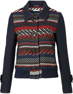 Short jacket in Italian jacquard, finished with ribbing. The sleeves are a wool blend and finished with epaulettes.