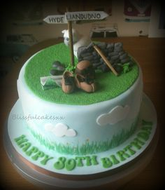 for a walker on his birthday x 70th Birthday Cake Mum, Mountain Cake, 50th Wedding Anniversary Cakes, Dad Cake, Retirement Cakes, Garden Cakes, Cake Pictures, Novelty Cakes, Dessert