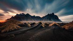 Sunset over Vastrahorn, Iceland by wim denijs on Sunset Photography, Landscape Photography, Travel Photography, Exposure Photography, Wonderful Places, Beautiful Places, Beautiful Pictures, Destinations, Sacred Mountain
