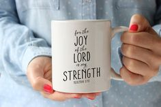 Coffee Mug Ceramic Mug Quote Mug Bible Versed Mug by FarmhousePrintables