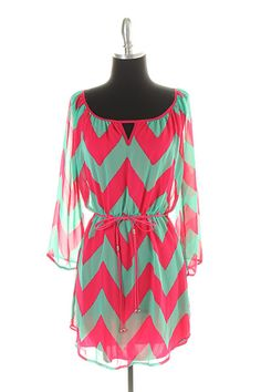 Coral and Mint Chevron Chiffon dress... Cute for the summer over bathing suit.