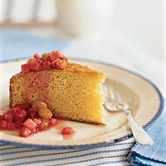 Holiday Desserts | Lemon Polenta Cake with Winter Fruit Compote | CookingLight.com