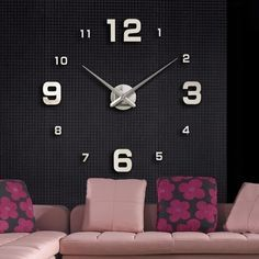 Description: Luxury Classic DIY Clock Color: Silver Material: alloy clock, EVA foam Hour hand length: 30.5cm Minute hand length: 38.2cm Clock tray size: 11*2cmdiameter*thickness