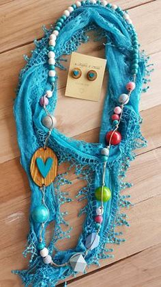 Scarf & Bead Sweetheart Combo – Turquoise Turquoise Necklace, Beaded Necklace, Bead Art, Jewelery, Beading, How To Make, Diy, Accessories, Handmade Chain Jewelry