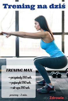 Propozycja treningu na dziś - ćwiczenia w wersji max. Zasada jest prosta – wykonujesz jak największą liczbę powtórzeń w podanym czasie. Przerwę robisz tylko wtedy, kiedy organizm się tego domaga.  #ćwiczenia #trening #fitness #przysiady #pajacyki #sit-ups #zdrowie #motywacja #plan #sylwetka #training #jumping-jacks #exercises #squats #fit #healthy #abcZdrowie