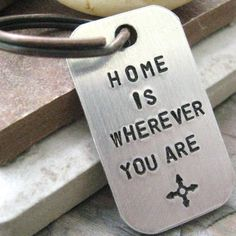 Home is Wherever You Are keychain with compass symbol, anniversary keychain, anniversary gift, optional initial disc, couples keychains by riskybeads on Etsy https://www.etsy.com/listing/158787383/home-is-wherever-you-are-keychain-with