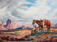 Western Landscape dated 1944 and signed 'Pepito.'