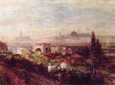 """Oswald Achenbach  –  """"View of Florence"""", oil on wood, 1898, Kunstmuseum Dusseldorf Wikipedia"""